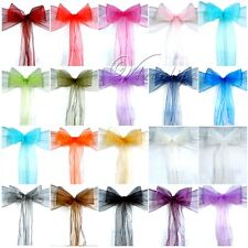 100PCS Organza Chair Sashes Bow Wedding Cover Banquet