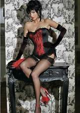 C81 SEXY RED Black CORSET Basque+Gloves+Stockings+Thong