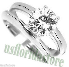 3.35ct Clear CZ Stone Wedding Band Silver Rhodium EP Ladies Ring Set
