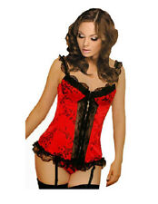 C17 SEXY RED BONED Black LACE CORSET +Thong  + Stockings UK 6-24 BASQUE LINGERIE