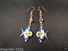 Hand Crafted Cloisonne Angel Fish Earrings -choose colour -by Elizabeth *SRAJD
