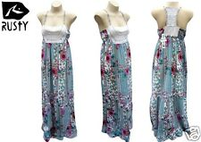 Rusty Long Maxi Dress Enchanted Surf White Summer Cotton Size 8 10 New RRP$100