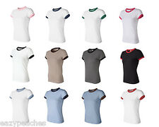 Bella NEW Ladies Size S-2XL 100% Cotton Short Sleeve Ringer T-Shirt Womens 1007