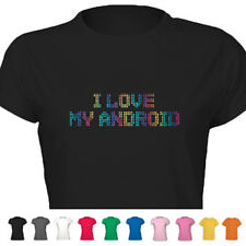 I Love My Android Diamante Style Hen Funky Cool Tshirt