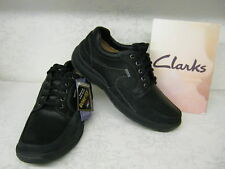 Mens Clarks Stream Jet GTX Black Leather Casual Waterproof Lace Up Shoes