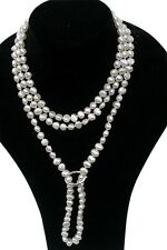 Long Cultured Freshwater White Pearl necklace 1.35m