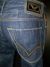 PREMIUM Mens Robins Jeans RED SALVAGE LEATHER TRIM STUD