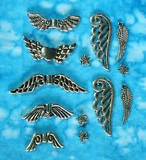 Silver ANGEL WING Charm, Bead & Spacer Sets 17mm-32mm - 3 Day Delivery USA!!!!