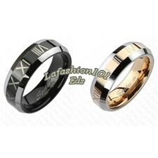 Tungsten Black & Rose Gold IP w/ Roman Numerals Beveled His Hers 2 Wedding Rings