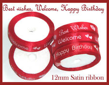 HAPPY BIRTHDAY BEST WISHES WELCOME SATIN RIBBON CAKE GIFT WRAP DECORATION 10 MTR