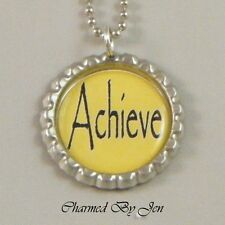 """ACHIEVE Inspirational Word Saying Bottle Cap Charm Altered Art NECKLACE 24"""" NEW"""