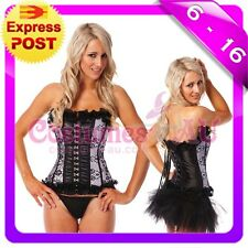 Ladies Burlesque Satin Bustier Lace up corset skirt Costume Fancy Dress