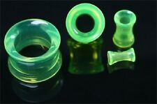 Green Double Flare Plugs Tube Ear Gauge Body Jewelry Tunnel Earlets Earrings