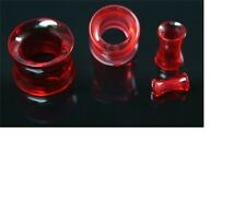 Red Double Flare Plugs Tube Ear Gauge Body Jewelry Tunnel Earlets Earrings