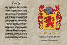 PERSONALISED FAMILY SURNAME HISTORY CREST COAT OF ARMS ,WEDDING ANNIVERSARY,GIFT