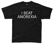 I BEAT ANOREXIA Mens T-Shirt S-3XL Funny Printed Black Fat Joke Top