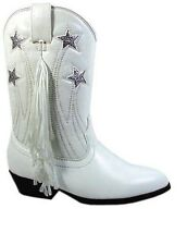 Kids White Fringed Cowgirl Boots Sizes 9-3