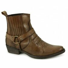 Maverick Mens Soft Leather Ankle Harness Strap Cowboy Boots Burnished Tan Brown
