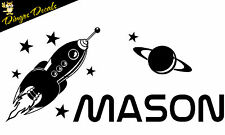 Personalized Rocket Space Ship Boys Name Vinyl Wall art Decal Sticker Removable