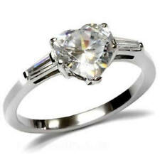 Stainless Steel CZ Heart  Engagement Ring Size 5/6/7/8/9/10 Free Shipping A2