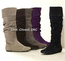 Women Flat Tall Causal Riding Slouch Faux Suede Knee High Cuff New Boots Lori-16