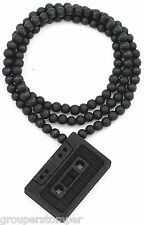 Cassette Tape Necklace New Good Wood Style Pendant With 36 Inch Wood Bead Chain