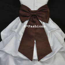 BROWN SATIN TIE BOW SASH FOR PAGEANT FLOWER GIRL DRESS sz S M L 2 4 6 8 10 12 14