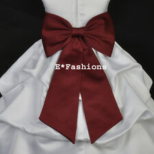 BURGUNDY RED TIE BOW SASH 4 WEDDING FLOWER GIRL DRESS sz S M L 2 4 6 8 10 12 14
