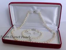 Genuine 7mm White Pearl Necklace Bracelet Earrings 3pc SET Cultured Freshwater