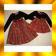 NWT NWOT 2 2T 5 5T YOUNGLAND gold trim black RED PLAID TULLE HOLIDAY DRESS~U PIC