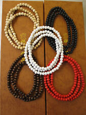 "plain wood beads necklace, 28"" long, GOOD WOOD,"