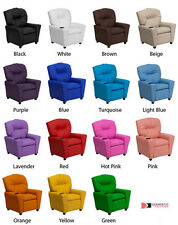 Child Recliner w/Cup Holder in Leather, Vinyl, & Microfiber in Multiple Colors