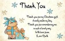 10 x Personalised Christmas Present / Gift Thank You Cards - Holding Presents