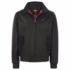 MERC LONDON CLASSIC HARRINGTON JACKET WITH RED PRINCE WALES CHECK LINING - BLACK