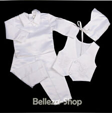 4 Pcs White Baby Boy Satin Baptism Christening Long Suit Bonnet Size 0-12m 020