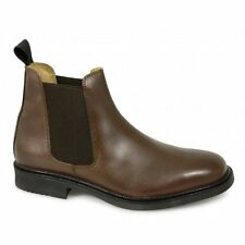 Roamers Mens Twin Gusset Padded Soft Leather Chelsea Dealer Boots Brown New