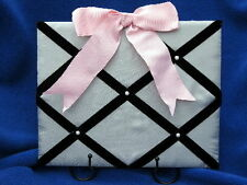 Gift for Child, Preteen, Teen Fabric Photo Board w- Wire Stand in Gray and Black