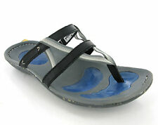 Womens Hi-Tec Vigorate Thong Mules Black Sports Leather Walking Sandals Size 4-8