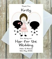 PERSONALISED HAIRDRESSER THANK YOU CARD WEDDING DAY HAIR THANKS BRIDE BRIDESMAID