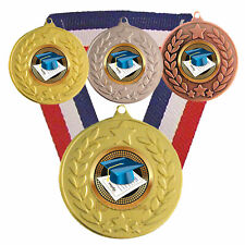 Academic Medal with R/W/B Ribbon -  Free Engraving - Academic Trophies