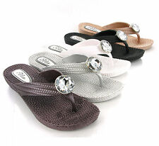 Womens Soft Flexible Comfort Flip Flop Jewelled Toepost Mules Sandals Size 3-8