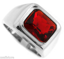 Mens Ruby Red Stone Solitaire Rhodium Plated Ring New