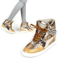 Womens glitter Gold Ankle high tops hidden insole wedge heels fashion Sneakers