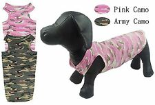 Dachshund Apparel, sweater, shirts,  vest camo style pink or olive Size S, M, L,