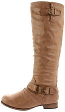 Wild Diva women casual motorcycle riding flat boots Camel Tosca-01A Beige / Tan