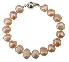 Bridesmaid Cultured Freshwater Peach Baroque Pearl Bracelet with a silver clasp