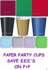 PAPER PARTY CUPS, BUY 1, 2 OR 3 PACKS, FOR THE SAME P+P--GREAT DEAL~ 20 COLOURS