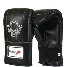 TurnerMAX Leather Boxing Bag Gloves Grappling Punch Mitts Black