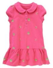 GYMBOREE BRIGHT TULIP PINK FROG EMBROIDERED DRESS 12 18 2T 3T 4T 5T NWT