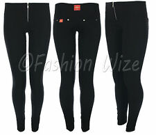 Girls School Trousers Sizes 4 6 8 10 12 14 Silver Zip Super Skinny Black Hipster
